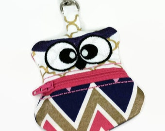 Owl Coin Pouch, Clip On Coin Pouch, Zippered Coin Purse, Chevron Coin Pouch, Keychain Pouch, Backpack Keychain, Change Purse, Ear-bud holder
