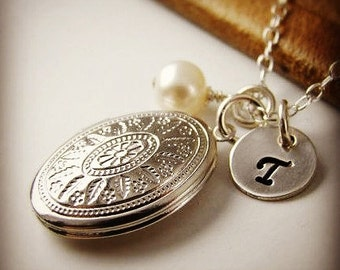 3 Bridesmaid Gift Jewelry Locket Necklaces , Personalized Wedding Jewelry Sterling Silver Pearl