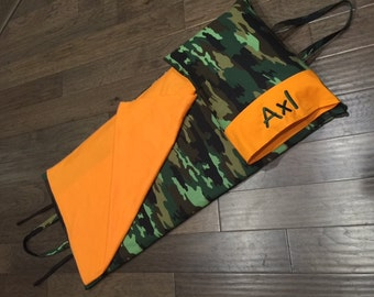 Napmat Cover - Green Camo with Orange Fleece blanket