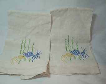 Two 1950s Linen Hand Embroidered Tea Towel Hand Towels with Fish.