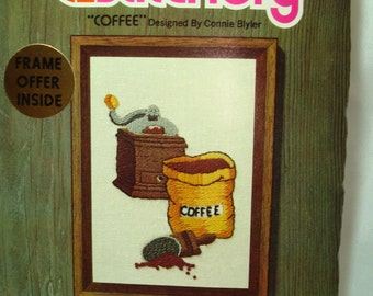 1990 Sunset Designs Jiffy Stitchery COFFEE Crewel Work Kit.
