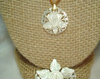 1970 Hand Carved Mother of Pearl Flower Pin and Necklace.
