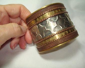 1982 Wide Copper Brass and Silver Tone Cuff Bracelet.