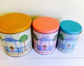 Vintage Tin Canister Set, Colorful Gazebo Scene, Yellow Pink Turquoise, Three Sizes