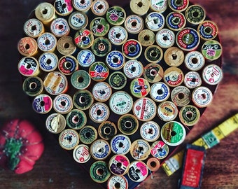 Vintage Thread Wooden Spools in Heart Candy Box