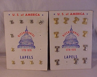 1976 Bicentennial Liberty Bell and 76 Lapel Pins Store Display