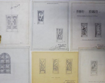 6 Vintage Architectural drawings sample Ornamental wrought iron Gates front doors Birds Reeds  Metal Artisans