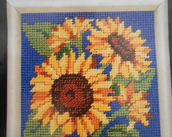 Needlepoint Kit for Five Inch Square Sunflower Pattern on Blue Background