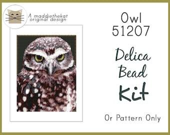 Owl 51207 Larger Panel Peyote Seed Bead Pattern PDF or KIT DIY Wild Bird Wildlife Animal