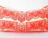 Orange Pillow Cover, Long pillow, lumbar cushion cover, orange throw pillow cover, lumbar bed pillow, bohemian decor, Mexico pillow yellow