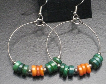 Green and Orange Shell Hoop Earrings