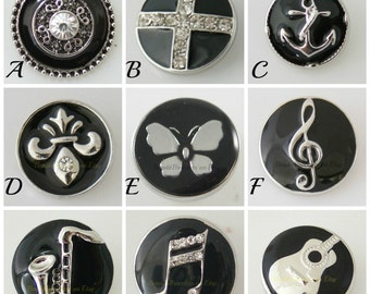 Black snap charms fit 18-20 mm Ginger Snaps Jewelry and Noosa  jewelry plus other brands of snap jewelry. Butterfly snap