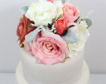 Wedding Cake Topper - Pink, Coral, Cream Rose Silk Flower Cake Topper, Wedding Cake Flowers, Fake Flower Cake Topper, Wedding Cake Flowers