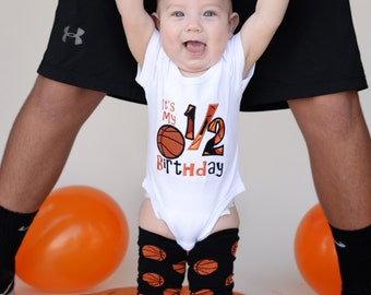 It's My 1/2 Birthday Embroidered Shirt, Baby Boy 6 Month Basketball Outfit, 6m Pictures, Half Birthday Outfit, Baby Girl