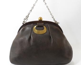 Vintage 60's Saber Ruth Saltz Brown Leather Handbag