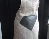 Raw linen apron with leather pocket and straps