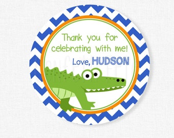Alligator Favor Tags, Alligator Birthday Party Favors, Gator Favor Tags, Boy Birthday Tag, Personalized