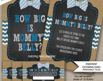 How big is mommy's belly baby shower game, INSTANT DOWNLOAD, measure mom's bump game, boy blue bow tie burlap