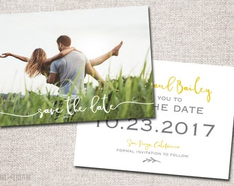 Save the Date, Photo Save the Date, Wedding, Save the date Card, Save the Dates, Modern Save the Date card: PRINTABLE (cursive 2 sided)