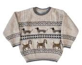 BLOWOUT 40% off sale Vintage 80s Dog Beige Sweater - Kids 2T - Childrens, Girls, Boys