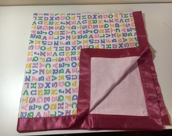 Satin Trimmed Flannel Baby Blanket - Pink ABC's