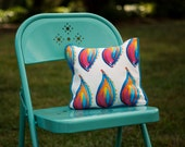 "SALE - Decorative Pillow in our Paisley Flame Textile Design (12"" Square)"