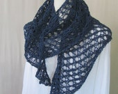 Cotton Linen Shoulder Wrap Navy Blue with Beaded Edge