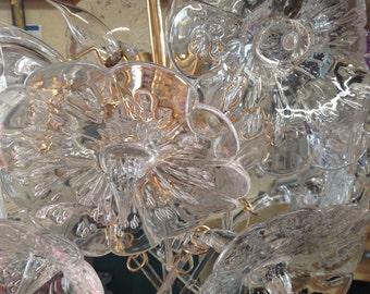 MID CENTURY VENINI Style Murano Glass Chandelier Glass Chandelier with Brass Sputnik Base with 18 Glass Stemmed Lilies at Retro Daisy Girl