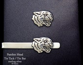 Panther Head Tie Tack or Panther Head Tie Bar / Tie Clip Sterling Silver Black Panther