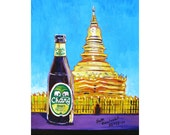 Thailand Wat Art Print, Chang Beer, Thai Temple Painting, Gift for Husband, Beer Gifts for Sister, Bar Beer Wall Art, Dining Room Art Print