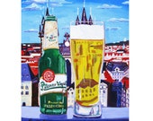 Pilsner Urquell Print, Man Cave Beer Poster, Beer Retirement Gift, Gift for Brother, Kitchen Wall Art, Czech Republic Beer, Europe Painting