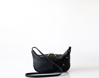 Pebbled leather sling bag OPELLE Micro Roberta Sling mini hobo handbag