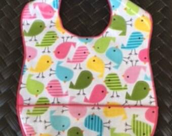 SALE 25% OFF !!!!! Bib for Toddler, Laminated Birds Bib for Girls,
