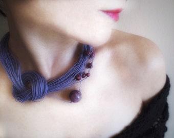 Linen Necklace, Natural Necklace, Agate Beads, Boho Necklace, Unique Necklace