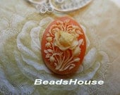 89F-00-CM  2pcs Pretty Rose Oval Cameo (30 x 40 mm)-  Ivory on Coral