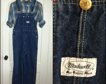 Vintage Madewell, New Bedford, MA Denim Farmer Carpenter blue jeans Overalls size 36x30, measured 38x29 made in USA