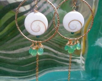 Cats Eye Shell Hoops with Chrysophrase