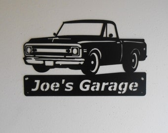 Classic 1969 Chevrolet Truck Personalized Man Cave Wall Decor Garage Sign Satin Black