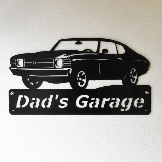 1971 Chevelle - Personalized Metal Sign- Man Cave- Classic - Muscle Car -Garage Sign -Satin black