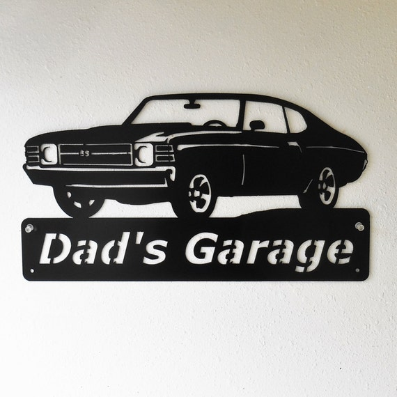 Personalized Metal Sign- Man Cave- Classic -1971 Chevelle- Muscle Car -Garage Sign -Satin black