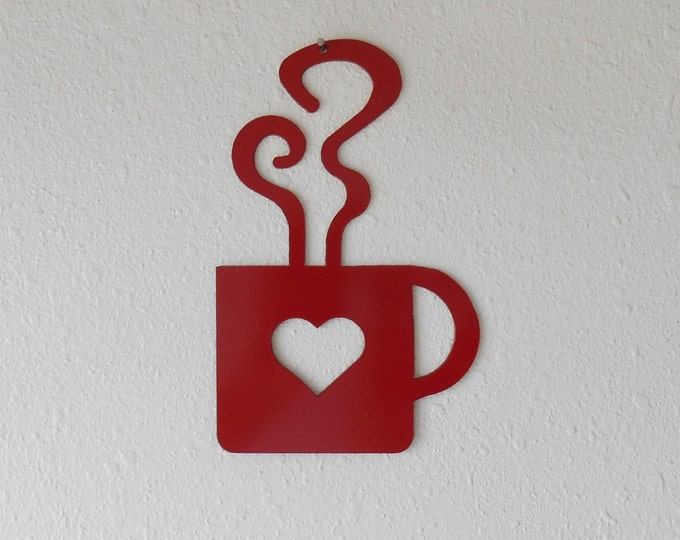 Coffee Heart Red Mug Metal Wall Art Kitchen Decor