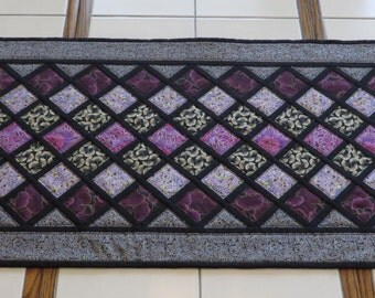 Handcrafted Quilted Table Runner purples black silver metallic cotton lattice pattern