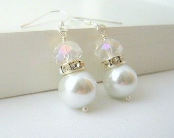 White Pearl Bridal Earrings, Bridesmaid Earrings, White Wedding Jewelry, Crystal and Pearl Earrings Wedding Jewelry