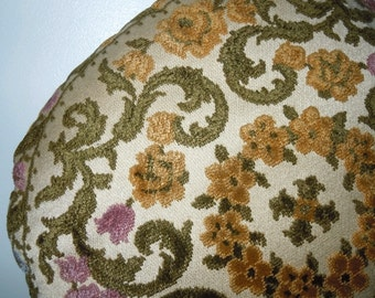 Vintage Round Chenille and Velvet decorative Pillow