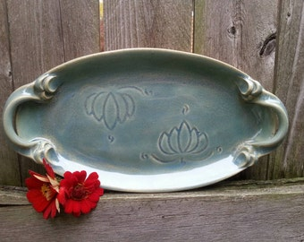 Ceramic Oval Platter, Serving Platter with Lotus Carving in Opal Blue