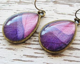 Real Botanical Earrings - Pink and Purple Antique Brass Teardrop Pressed Leaf Earrings
