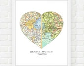 Personalized Map Art, Custom Wedding Gift, Heart Map Gift for Couples, Unique Wedding Gift, Engagement, Map Print