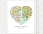 Custom Anniversary Gift, Wedding Gift, Unique Gift for Couples, Husband Gift, Personalized Engagement Gift, Heart Map Art, Long Distance