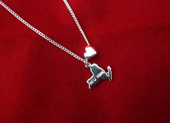 New York Love - State Charm Necklace - 18 Inches