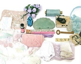 Vintage Inspiration Kit / La Vogue Chocolate Tin / Craft Supplies including Vintage Lace / Photos / Perfume Bottles /Skeleton Key / Jade